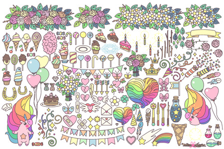 Vector big celebration objects set. Doodles for kids. Hand drawn clipart. Fashion vintage style. Graphics isolated on transparent background. Print arts. Cartoon pastel fairy collection. Kawaii light food.