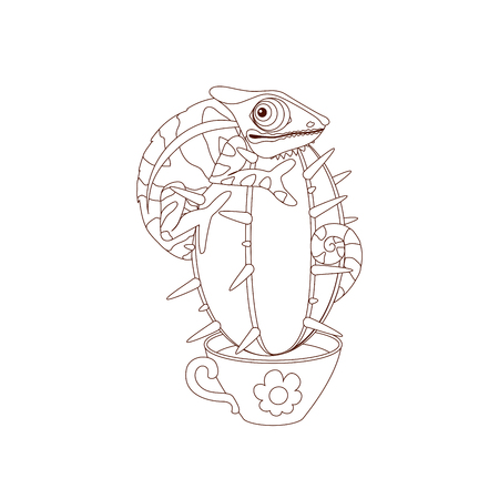 Vector cartoon coloring book page for kids. Clip art isolated on white background. Black and white drawing concept. Hand drown illustration of funny chameleon on cactus
