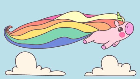Vector animal illustration. Funny card. Cartoon design typography element. Print art of sleeping cute unicorn. Festive background. Goodnight. Time of dreams. Vintage fairytale wallpaper 05 Vettoriali