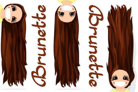 Vector girls graphics. Brunette. Long straight loose hair. Natural hairstyle. Playful girl illustration. Cartoon girl character. Hand drawn picture isolated on transparent background Banco de Imagens - 84500093