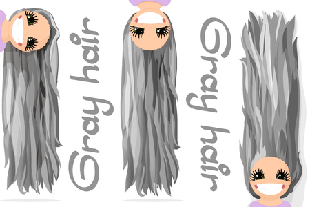 Vector girls graphics. Gray hair. Long straight loose hair. Natural hairstyle. Playful girl illustration. Cartoon girl character. Hand drawn picture isolated on transparent background
