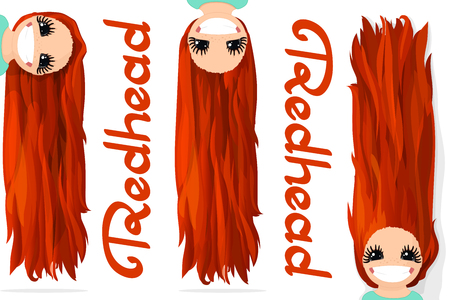 Vector girls graphics. Redhead. Long straight loose hair. Natural hairstyle. Playful girl illustration. Cartoon girl character. Hand drawn picture isolated on transparent background
