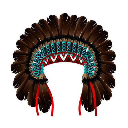 Vector Indian war bonnet. Dark brown turquoise crown diadem head wreath halo decoration headband. Clipart isolated on transparent background.