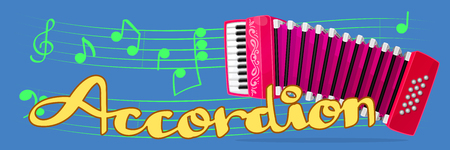 Vector cartoon musical instrument. Pink accordion (classical bayan, harmonica, jews-harp). Music banner. Handwriting text. Hand drawn concept illustration. Sheet music. Decorative abstract wallpaper.