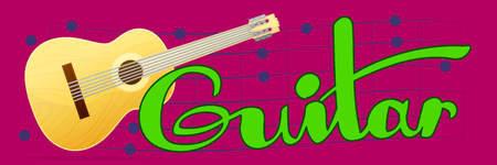 Vector cartoon musical instrument. Classical acoustic guitar. Music banner. Handwriting text. Hand drawn concept illustration. Colorful horizontal background.
