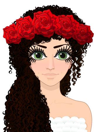 Vector grafische meisje, avatar vrouw, mooie vrouw, vrouwelijk portret, meisje illustratie, mooi meisje, curly-haired meisje, hand getrokken stripfiguur, illustratie geïsoleerd op transparante achtergrond Stock Illustratie