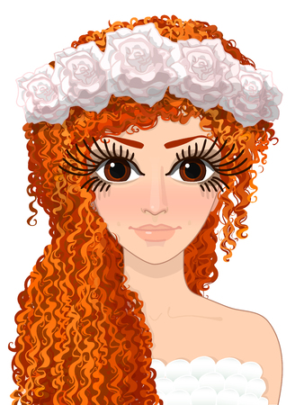Vector roodharige meisje afbeelding, avatar vrouw, mooie vrouw, vrouwelijke portret, meisje illustratie, mooi meisje, curly-haired meisje, hand getrokken stripfiguur, illustratie geïsoleerd op transparante achtergrond Stock Illustratie
