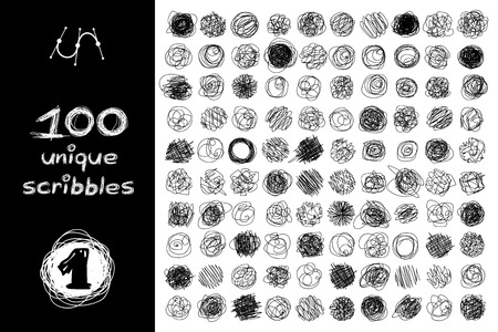 Vector SET 100 SCRIBBLES scrawl collection. Clip art isolated on transparent background. Graphic stylized objects. Hand drawn decorative texture concept. Unique sketch of round design elements. Part1 Stock Illustratie