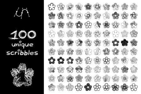 Vector SET 100 SCRIBBLES scrawl collection. Clip art isolated on transparent background. Graphic stylized objects. Hand drawn decorative texture concept. Unique sketch of flower design elements. Part1 Vetores