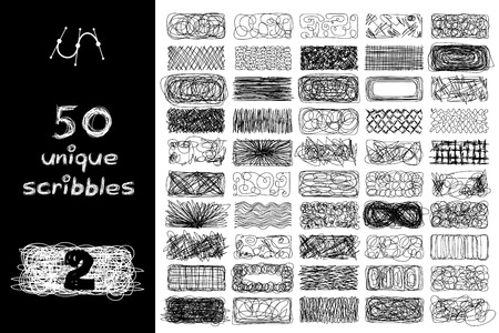 Vector SET 50 SCRIBBLES scrawl collection. Clip art isolated on transparent background. Graphic stylized objects. Hand drawn geometric texture concept. Unique sketch of rectangle design elements. 02