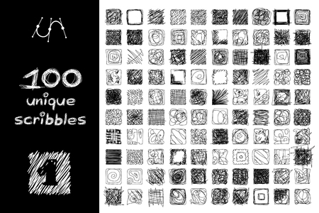 Vector SET 100 SCRIBBLES scrawl collection. Clip art isolated on transparent background. Graphic stylized objects. Hand drawn geometric texture concept. Unique sketch of square design elements. Part2