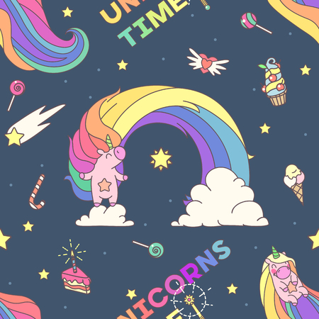 Vector cute seamless pattern. Colorful unicorns texture concept. 001