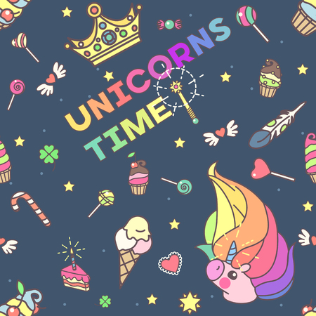 cushions: Vector cute seamless pattern. Colorful unicorns texture concept. 002