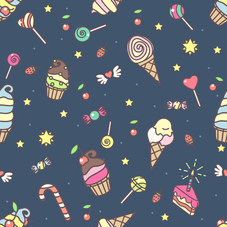 Vector sweet seamless pattern. Colorful cute texture concept. 001