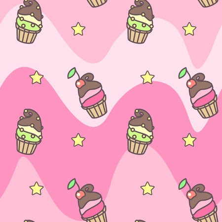 Vector sweet seamless pattern. Colorful cute texture concept. 003