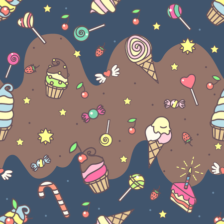 Vector sweet seamless pattern. Colorful cute texture concept. 005