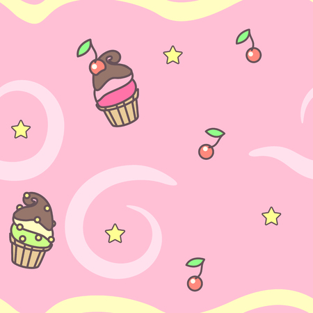Vector sweet seamless pattern. Colorful cute texture concept. 007 Ilustrace