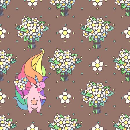 Vector schattig naadloos patroon. Kleurrijke eenhoorn textuur concept. 004 Stock Illustratie