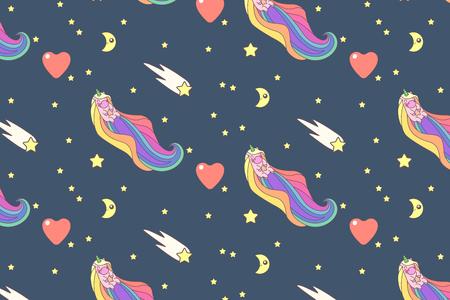 Vector cute seamless pattern. Colorful unicorns texture concept. 006 Vettoriali