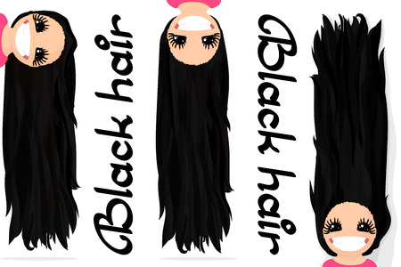 Vector girls graphics. Black hair. Long straight loose hair. Natural hairstyle. Playful girl illustration. Cartoon girl character. Hand drawn picture isolated on transparent background Ilustração