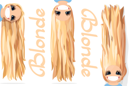 Vector girls graphics. Blonde. Long straight loose hair. Natural hairstyle. Playful girl illustration. Cartoon girl character. Hand drawn picture isolated on transparent background