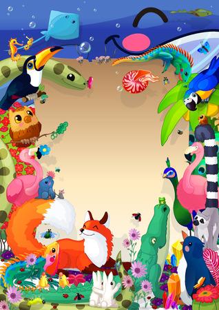 Modèle de couverture de livre animaux de dessin animé A4. Bannière, planche, brochure, carte, dépliant, cadre, mise en page, menu, bloc-notes, carte postale, affiche, feuille de titre. Illustration de conception pour les enfants. Formulaire BLANC. Votre texte ici. 06