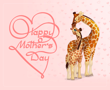 Vector animals celebration illustration. Happy Mothers Day greeting card. Cartoon design hand written typography element. Print art calligraphy inscription and lovely giraffes. Festive background
