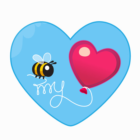 Vector animal celebration illustration. Valentine card. Cartoon design hand written typography element. Print art calligraphy inscription and bee with balloon. Festive background. Declaration of love