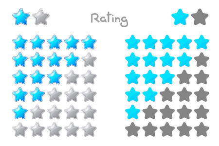 Vector cartoon stars rating. 5 stars: turquoise. Hand drowning isolated on white background.