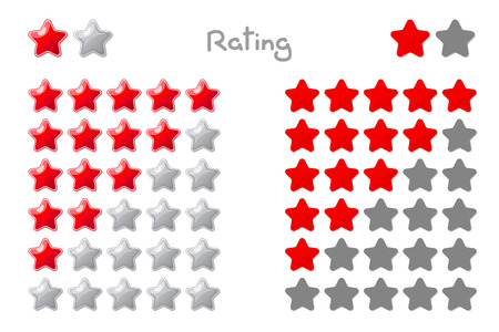 Vector cartoon stars rating. 5 stars: red. Hand drowning isolated on white background. Illustration