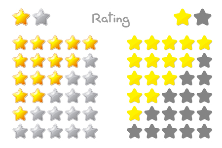 Vector cartoon stars rating. 5 stars: yellow, gold. Hand drowning isolated on white background.