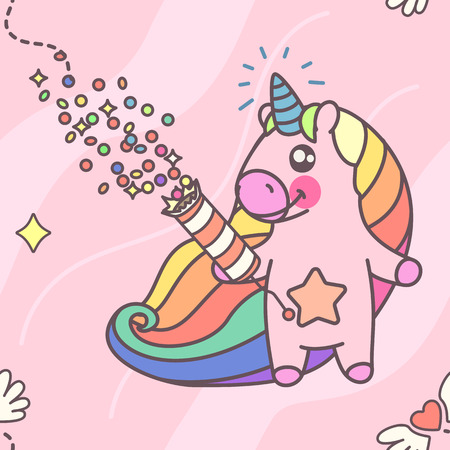 Vector cute seamless pattern. Colorful unicorns texture concept. 008