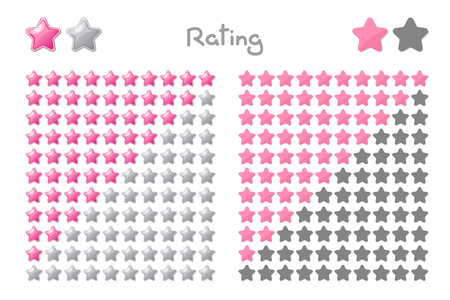 Vector cartoon stars rating. 10 stars: pink. Hand drowning isolated on white background. Illustration