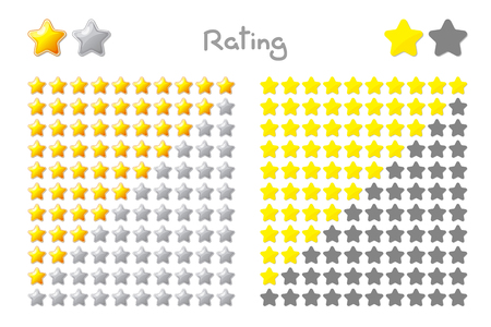 Vector cartoon stars rating. 10 stars: yellow, gold. Hand drowning isolated on white background.