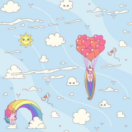 Vector cute seamless pattern. Colorful unicorns texture concept. 012