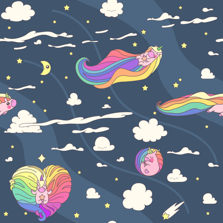 Vector cute seamless pattern. Colorful unicorns texture concept. 011