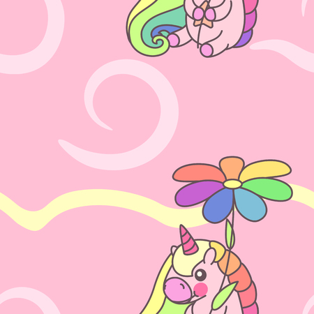 Vector cute seamless pattern. Colorful unicorns texture concept. 015 Illustration