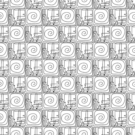 Vector black and white seamless pattern on transparent background. 034