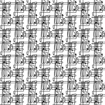 Vector black and white seamless pattern on transparent background. 033
