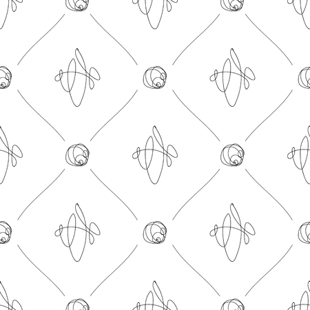 Vector black and white seamless pattern on transparent background. 043 Ilustrace