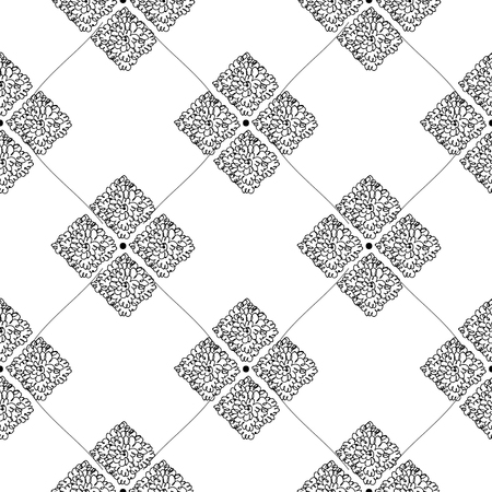 Vector black and white seamless pattern on transparent background. 040