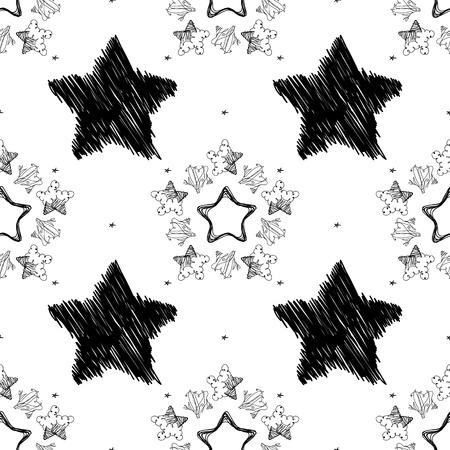 Vector black and white seamless pattern on transparent background. 059