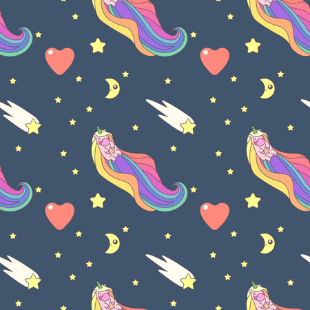 Vector cute seamless pattern. Colorful unicorns texture concept. 018