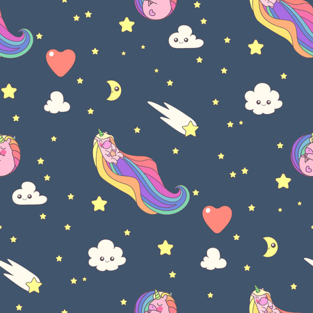 Vector cute seamless pattern. Colorful unicorns texture concept. 017