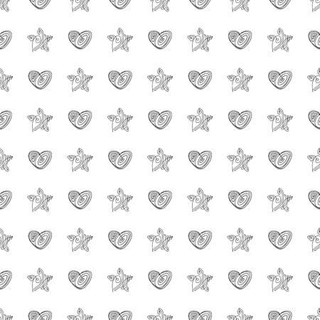 Vector black and white seamless pattern on transparent background. 054
