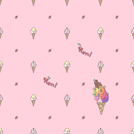 Vector cute seamless pattern. Colorful unicorns texture concept. 030