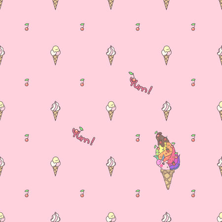 Vector cute seamless pattern. Colorful unicorns texture concept. 029 Ilustração