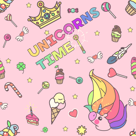 Vector cute seamless pattern. Colorful unicorns texture concept. 027