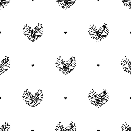 Vector black and white seamless pattern on transparent background. 058