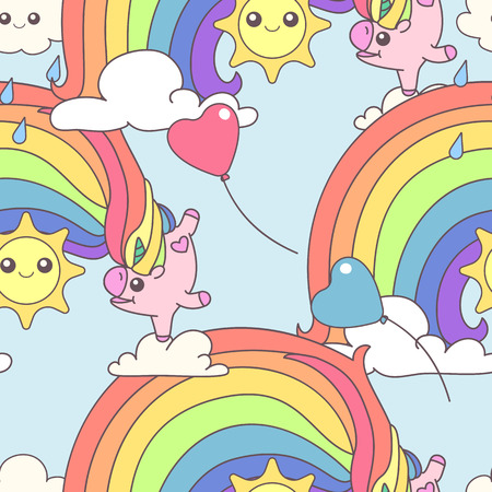 Vector cute seamless pattern. Colorful unicorns texture concept. 036
